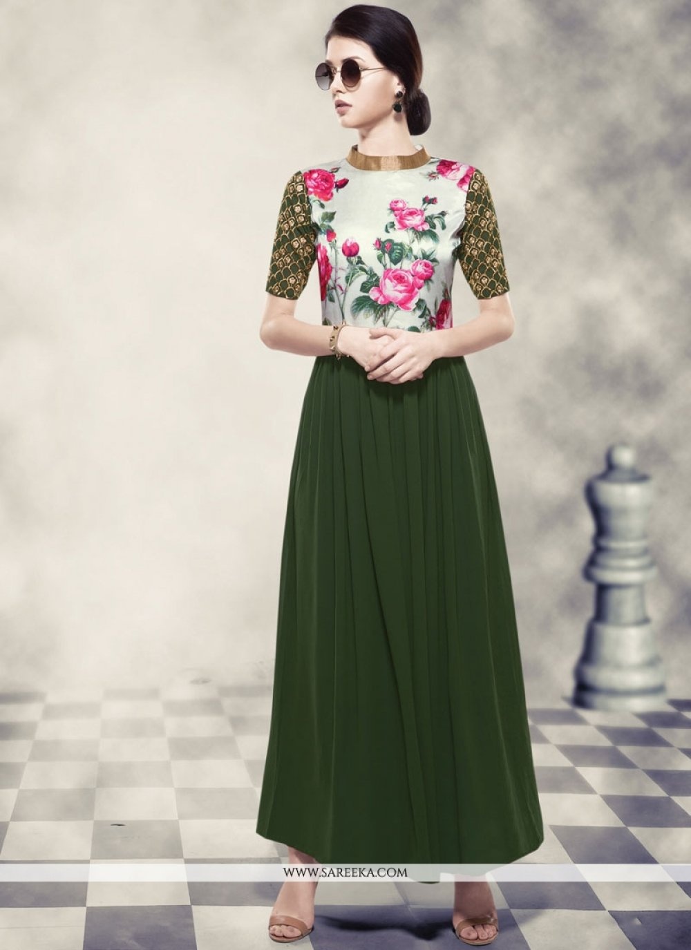 Printed Work Georgette Readymade Gown  in Green and Off White