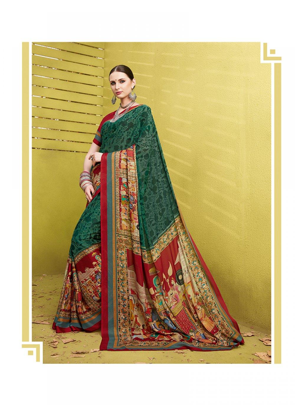 Printed Work Green Printed Saree