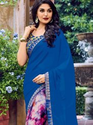 Printed Work Multi Colour Faux Chiffon Casual Saree