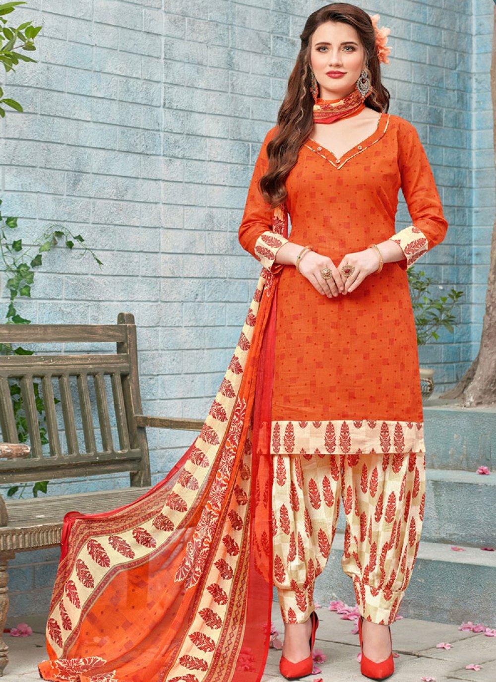 Printed Work Orange Punjabi Suit