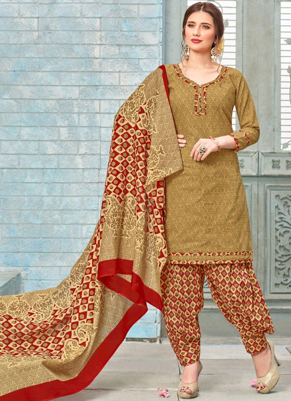 Printed Work Poly Cotton Yellow Punjabi Suit