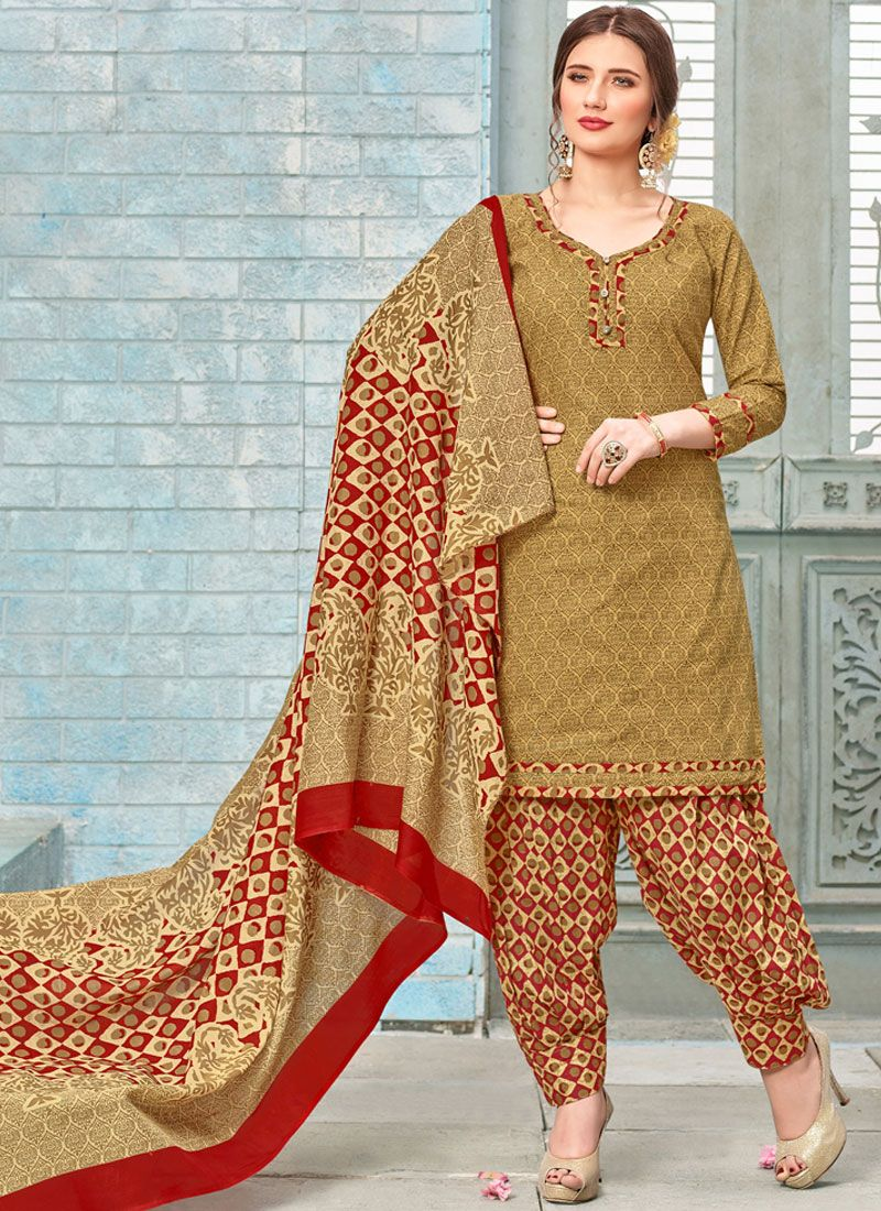 Printed Work Poly Cotton Yellow Punjabi Suit