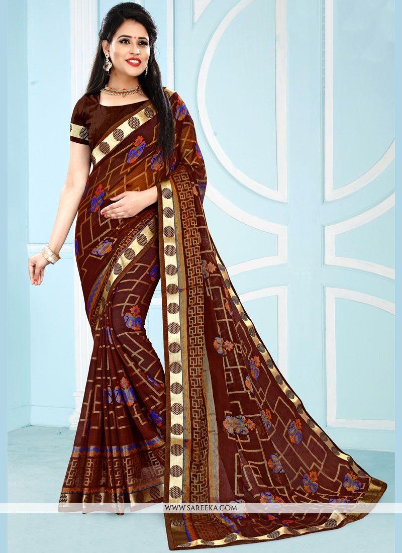 Printed Work Pure Chiffon Casual Saree in Brown