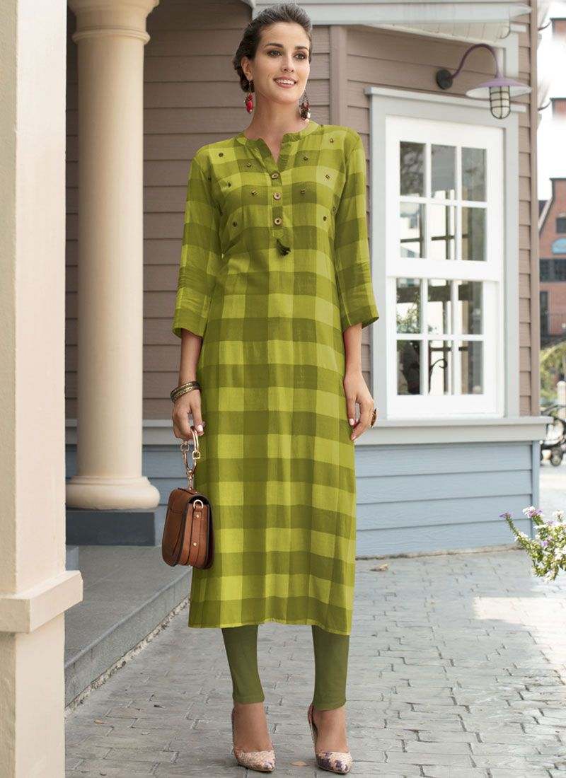Printed Work Rayon Green Casual Kurti