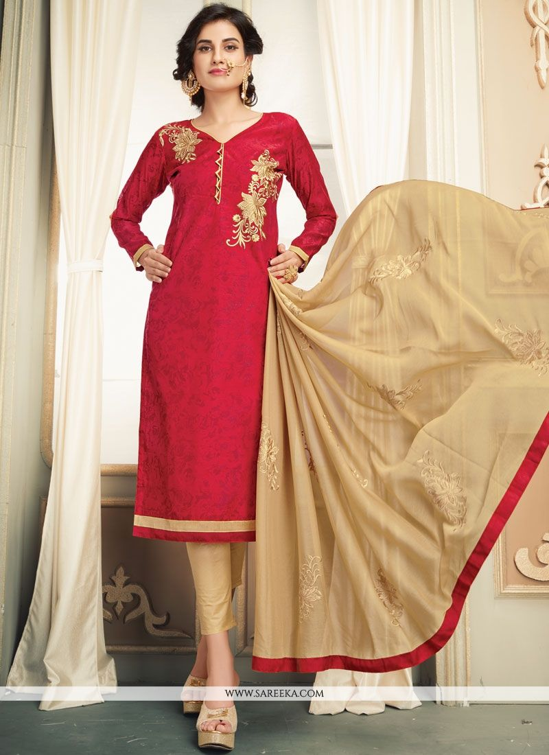 Printed Work Work Beige and Red Salwar Kameez