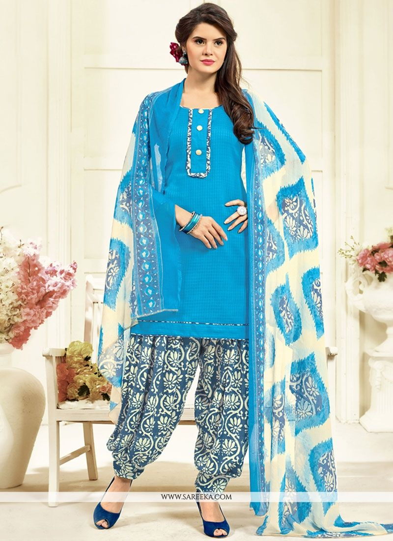 Printed Work Work Blue Cotton   Patiala Salwar Kameez