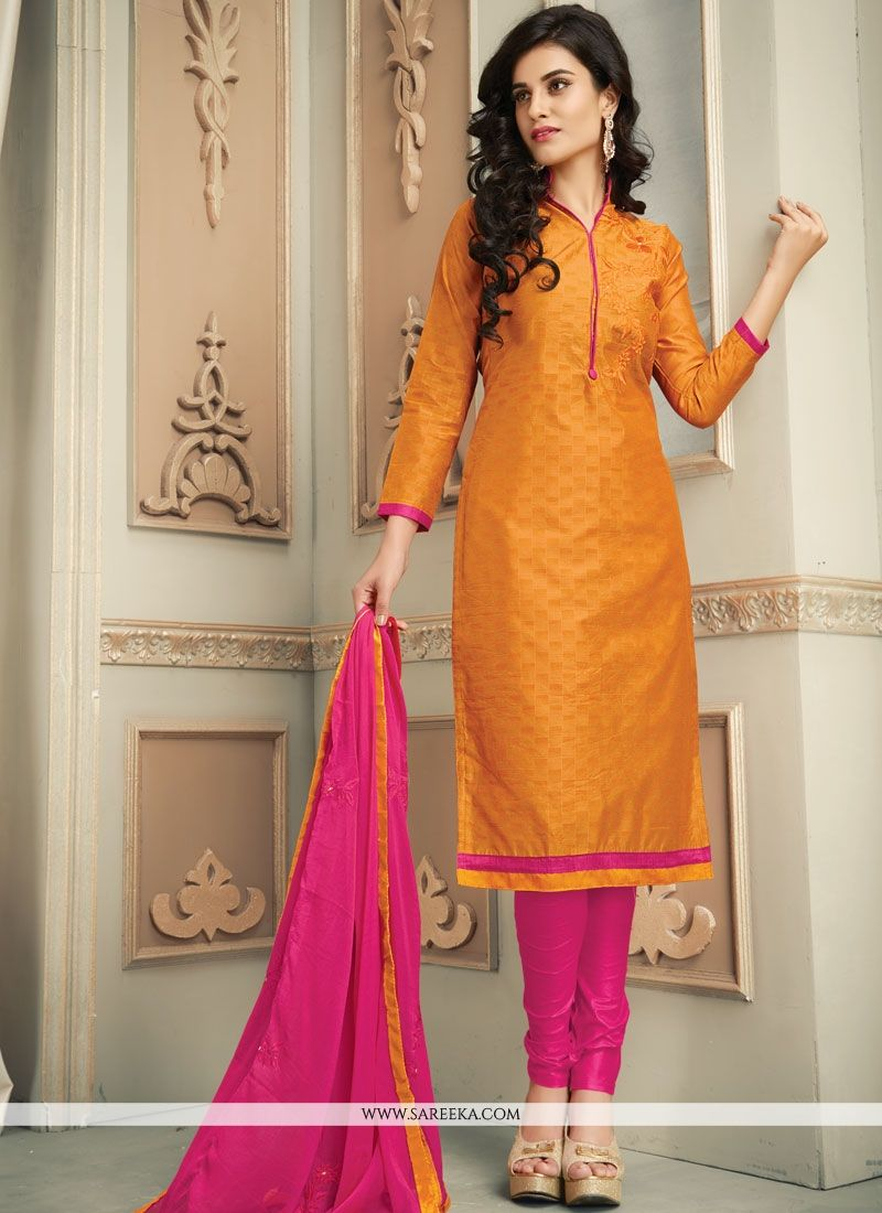Printed Work Work Cotton   Hot Pink and Orange Salwar Kameez
