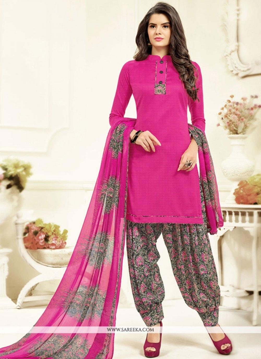 Printed Work Work Cotton   Pink Patiala Salwar Kameez