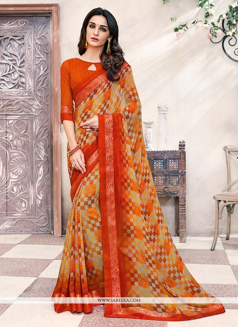 Printed Work Work Georgette Casual Saree