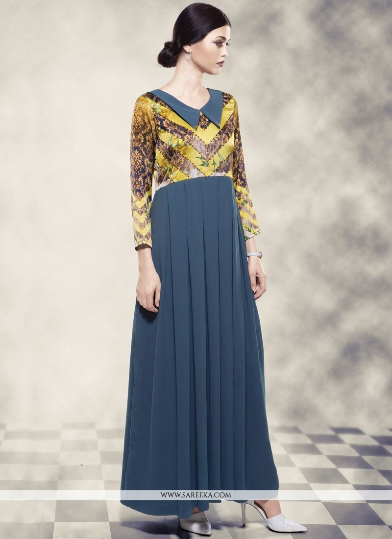 Printed Work Work Georgette Readymade Gown