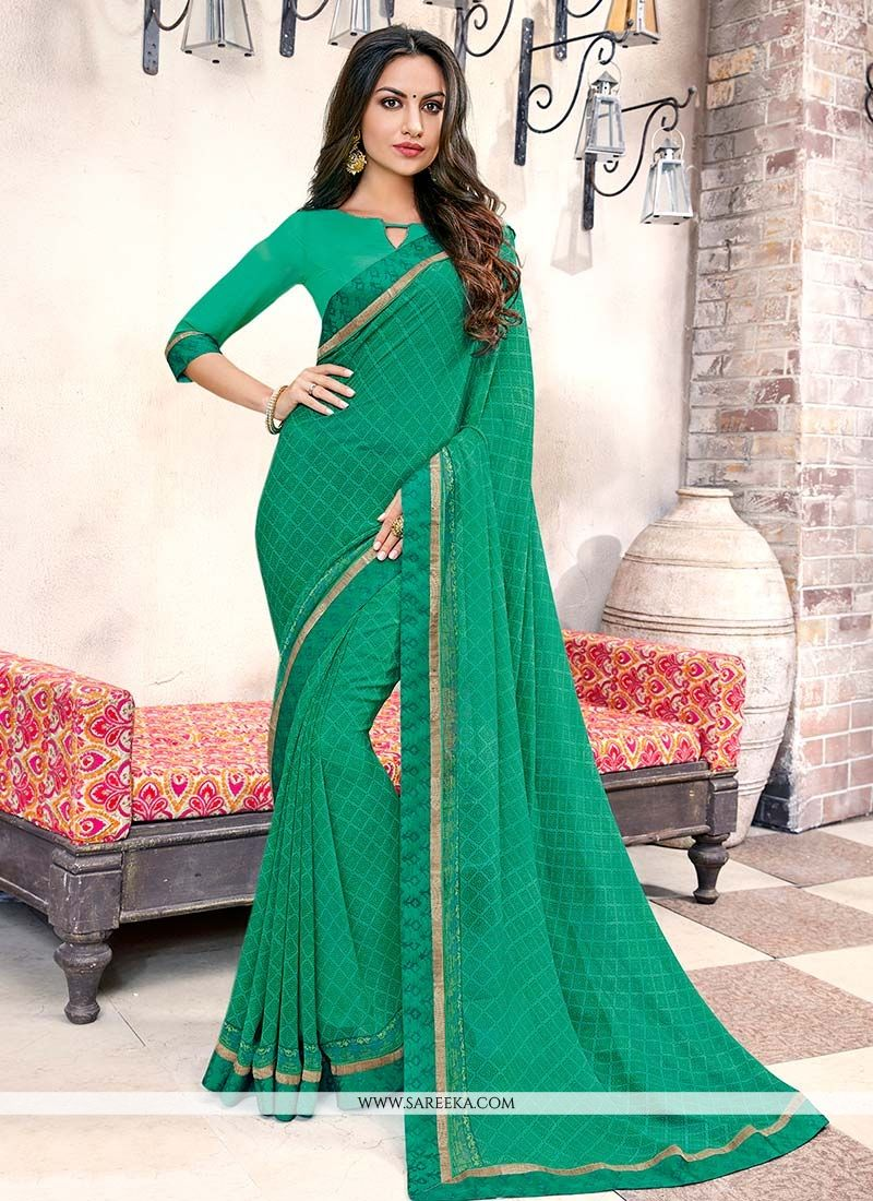 Printed Work Work Green Casual Saree