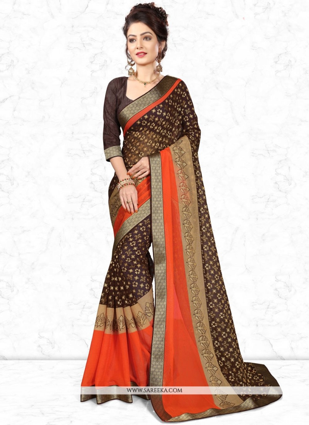 Printed Work Work Multi Colour Casual Saree