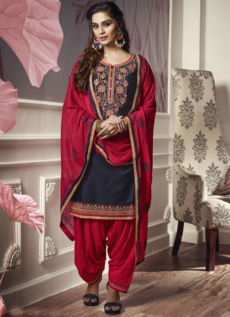 Punjabi Suit Embroidered Cotton Satin in Navy Blue