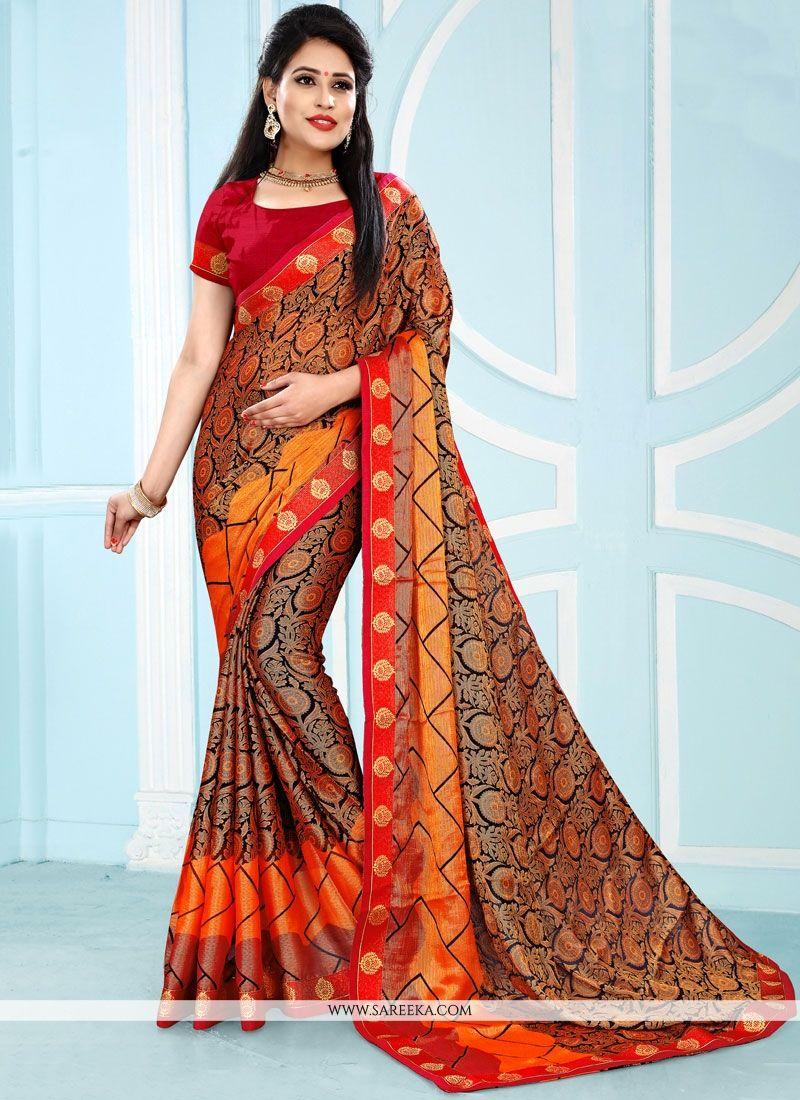 Pure Chiffon Multi Colour Casual Saree
