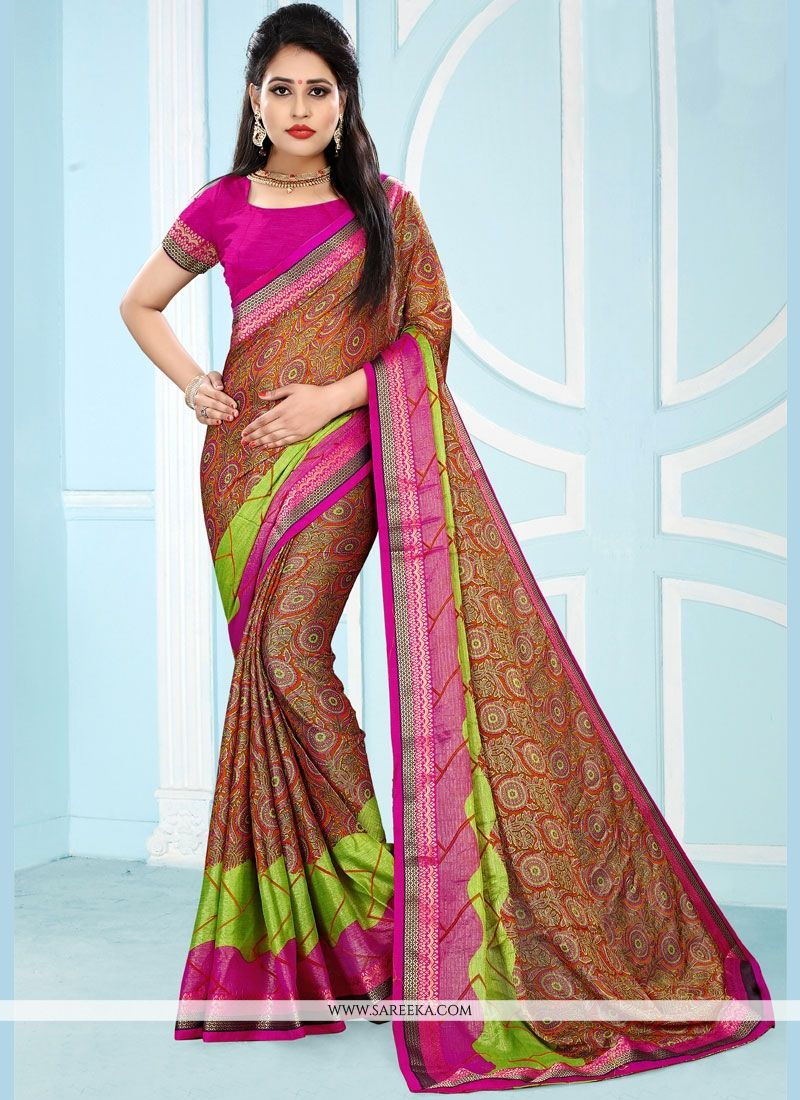 Pure Chiffon Printed Work Work Casual Saree