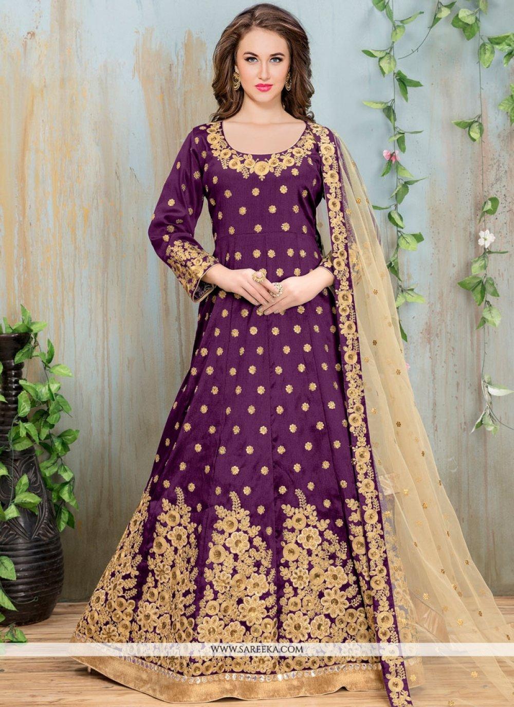 Purple Art Silk Floor Length Anarkali Suit