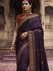 Purple Art Silk Wedding Designer Traditional Saree
