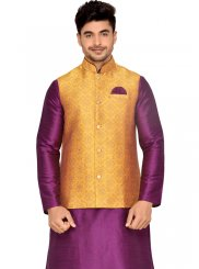 Purple Brocade Kurta Payjama With Jacket