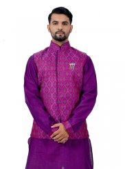 Purple Cotton Silk Kurta Payjama With Jacket with Plain
