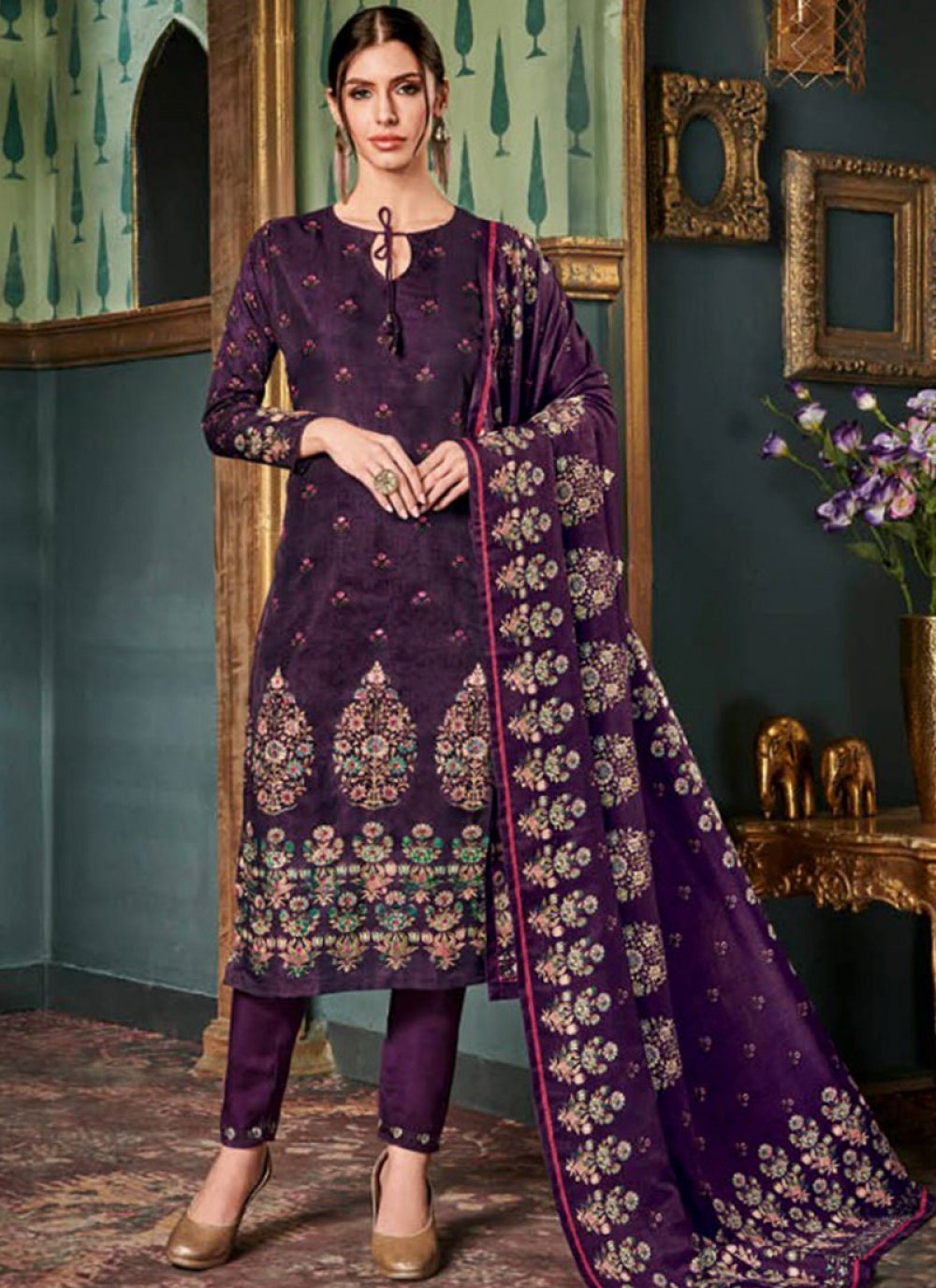 Purple Embroidered Tussar Silk Pant Style Suit