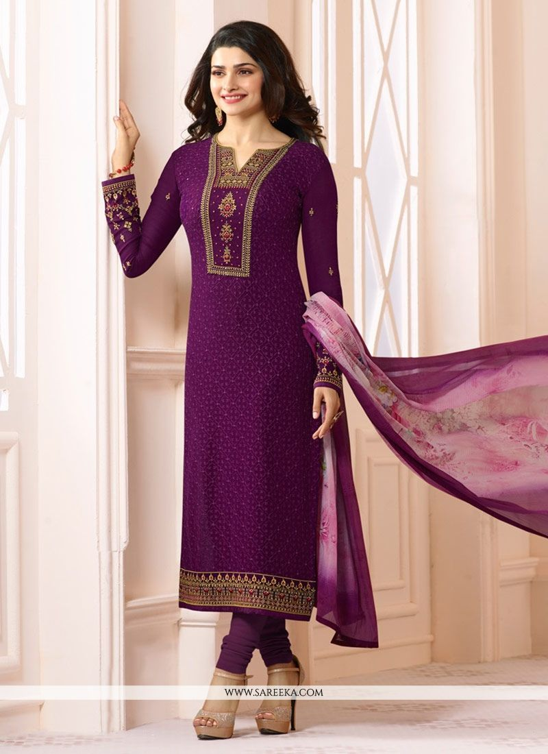 Purple Embroidered Work Georgette Salwar Suit