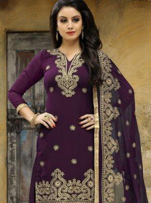Purple Embroidered Work Punjabi Suit