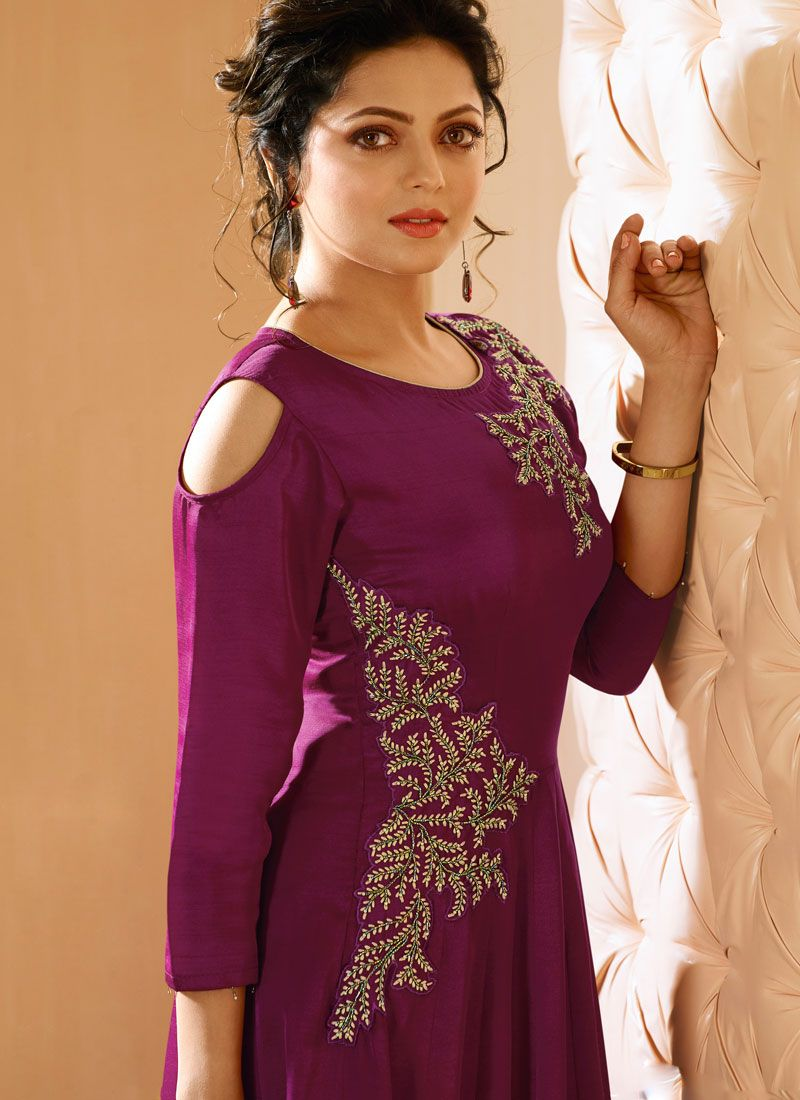 ba9348a662 Buy Purple Embroidered Work Satin Silk Party Wear Kurti : 71900 -