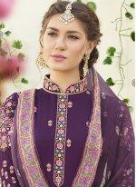 Purple Faux Georgette Designer Straight Suit
