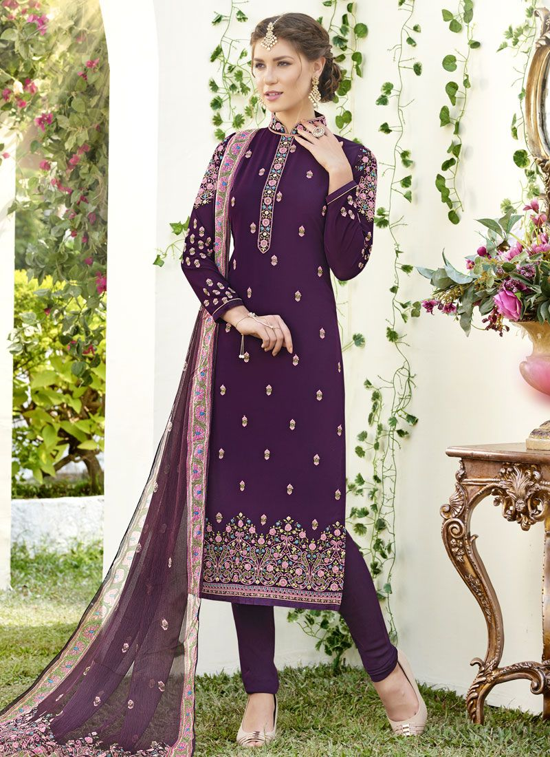 Purple Faux Georgette Designer Straight Suit