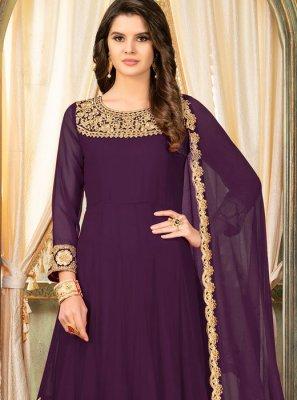 Purple Mehndi Anarkali Suit