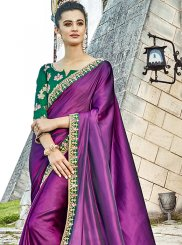 Purple Patch Border Designer Saree