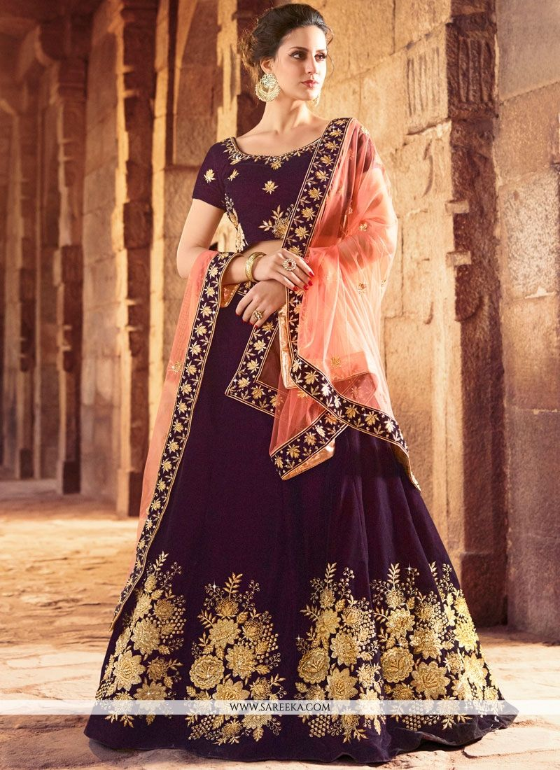 Purple Patch Border Work Lehenga Choli