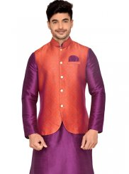 Purple Plain Work Brocade Kurta Payjama With Jacket