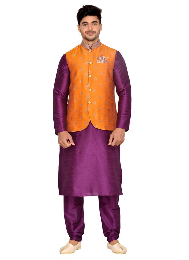 Purple Plain Work Brocade Kurta Payjama With Jacket