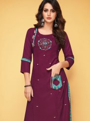 Purple Print Party Party Wear Kurti