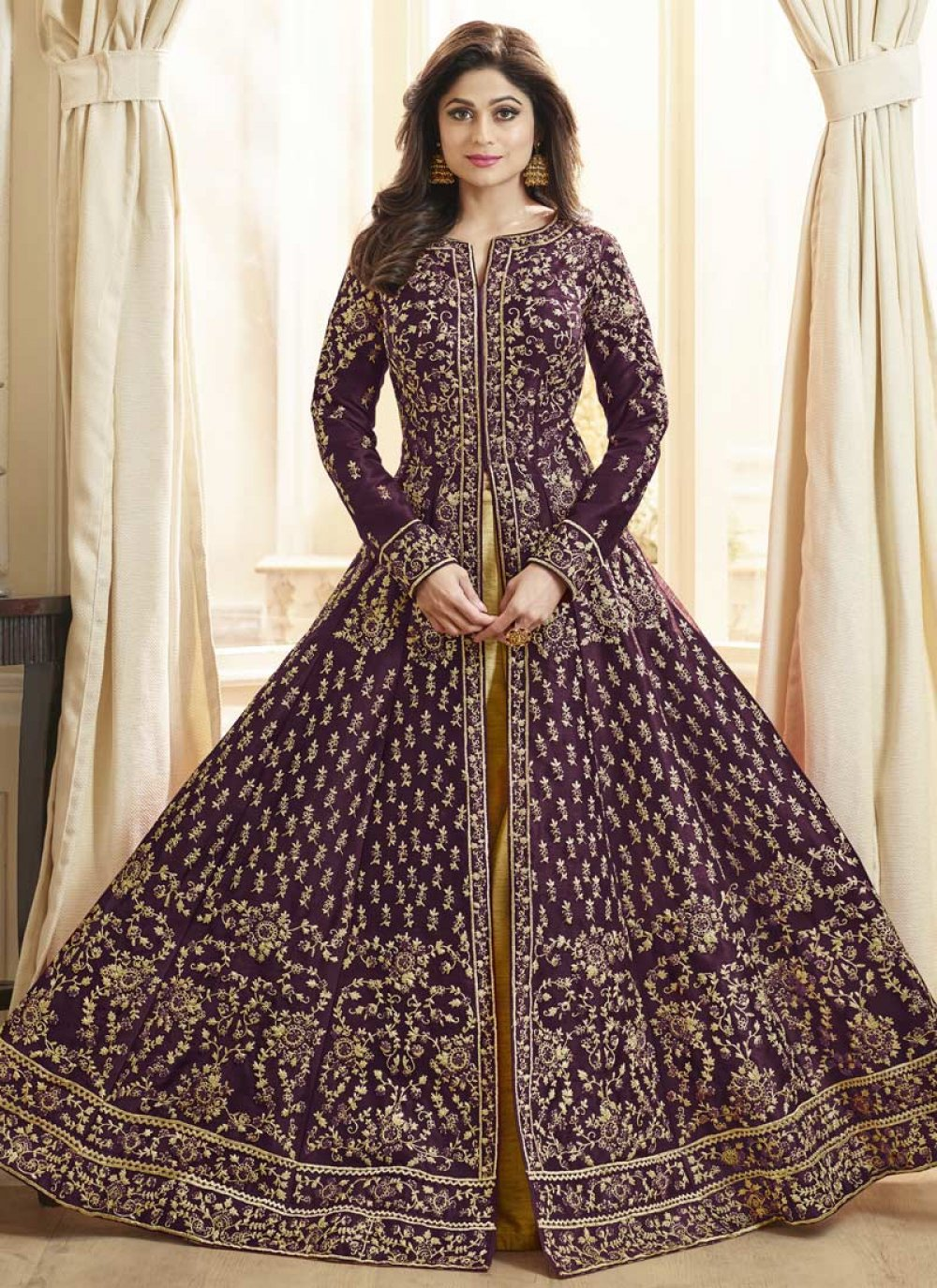 Purple Resham Art Silk Anarkali Salwar Suit