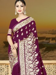 Purple Resham Art Silk Traditional Saree