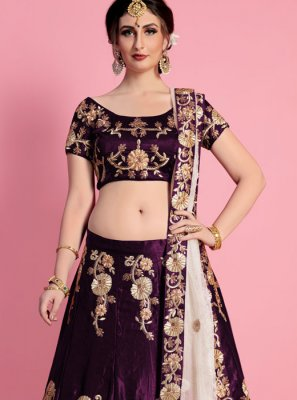 Purple Resham Work Velvet Lehenga Choli