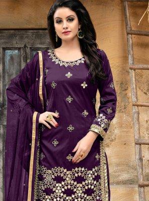 Purple Tafeta silk Embroidered Punjabi Suit