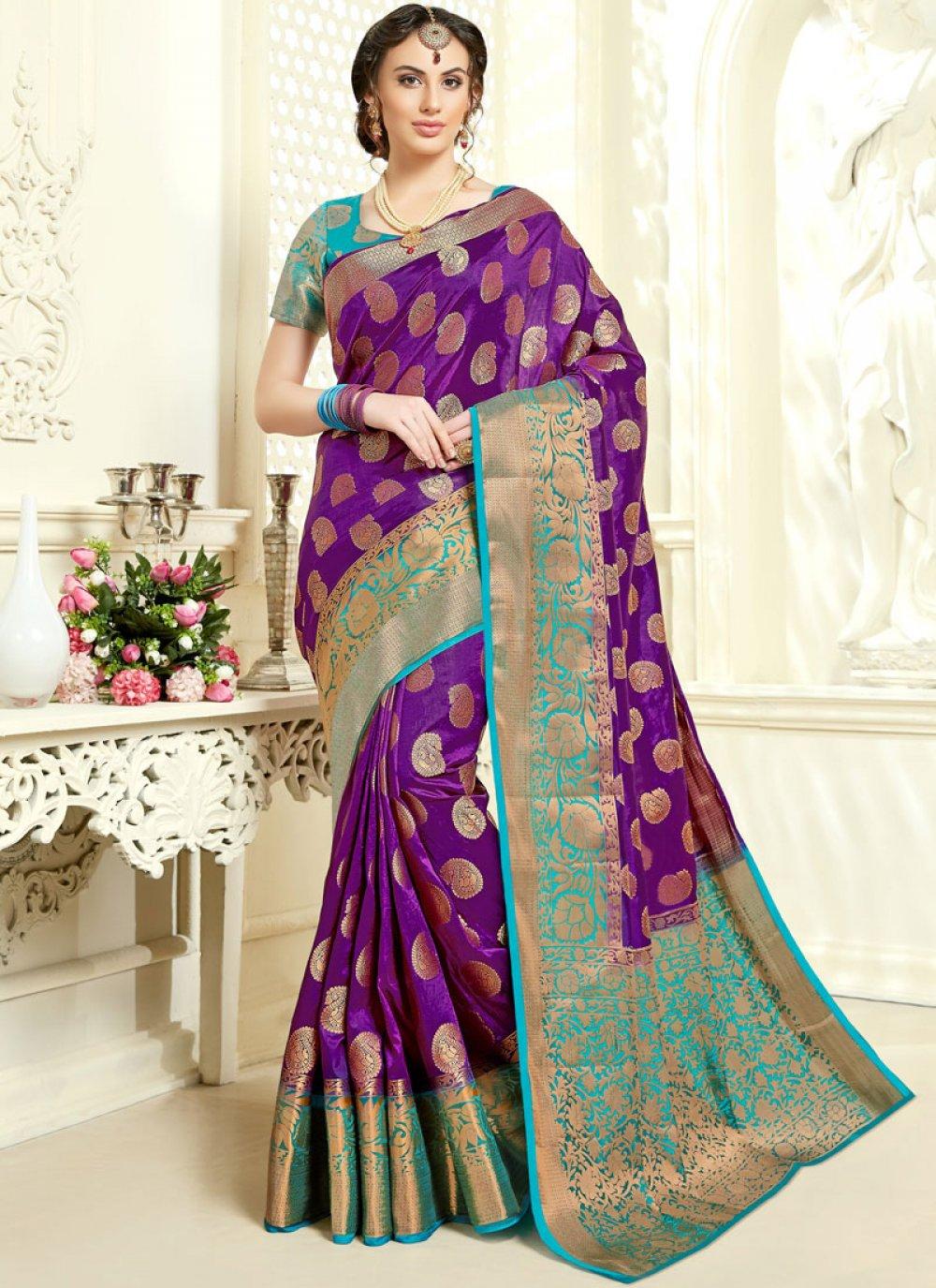 Purple Tussar Silk Ceremonial Classic Saree