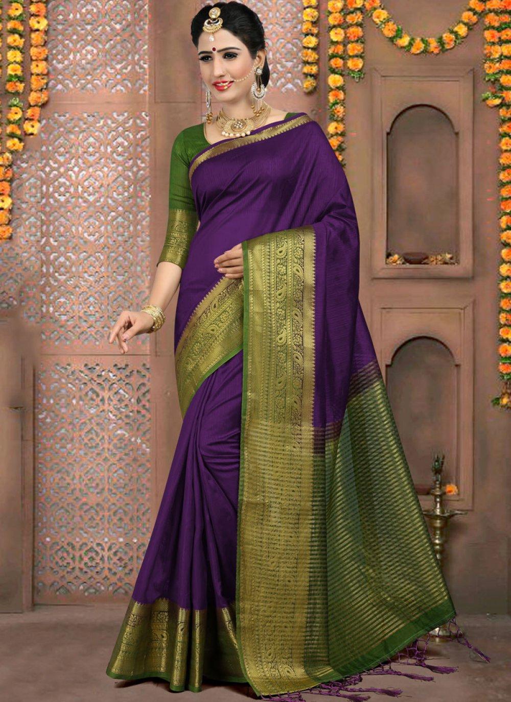 Purple Weaving Classic Saree