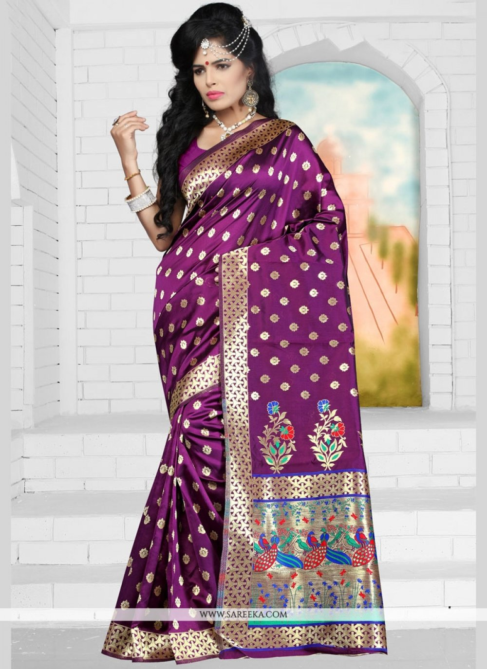 Purple Weaving Work Art Silk Designer Traditional Saree
