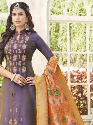 Purple Weaving Work Cotton Satin Designer Palazzo Suit