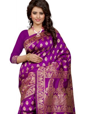 Purple Weaving Work Designer Traditional Saree