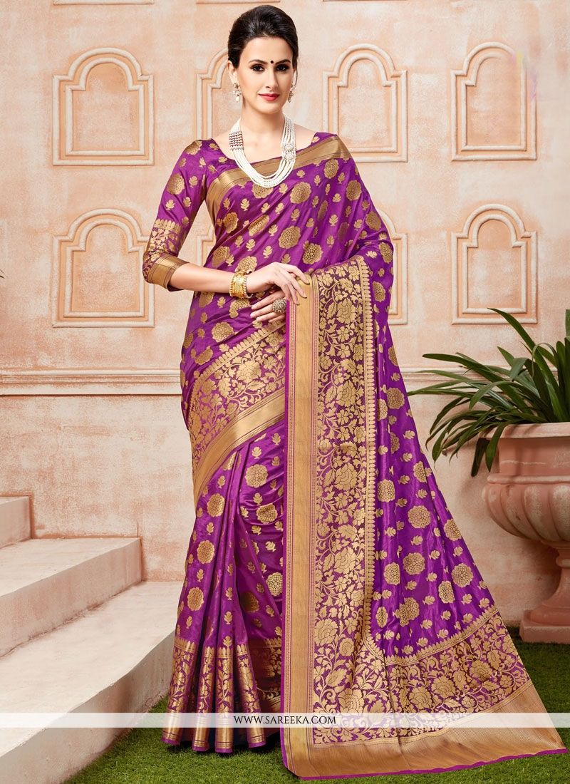 Purple Weaving Work Traditional Designer Saree