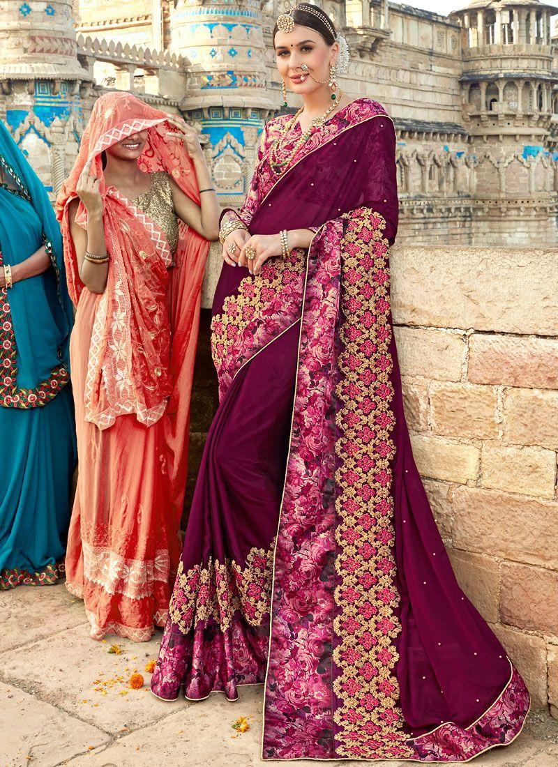 Purple Wedding Classic Designer Saree