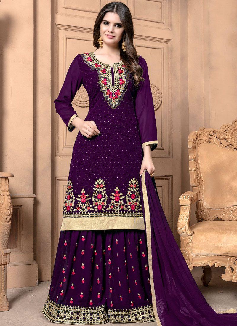 Purple Zari Faux Georgette Designer Palazzo Suit