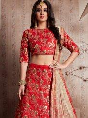 Raw Silk Red Zari Work Lehenga Choli