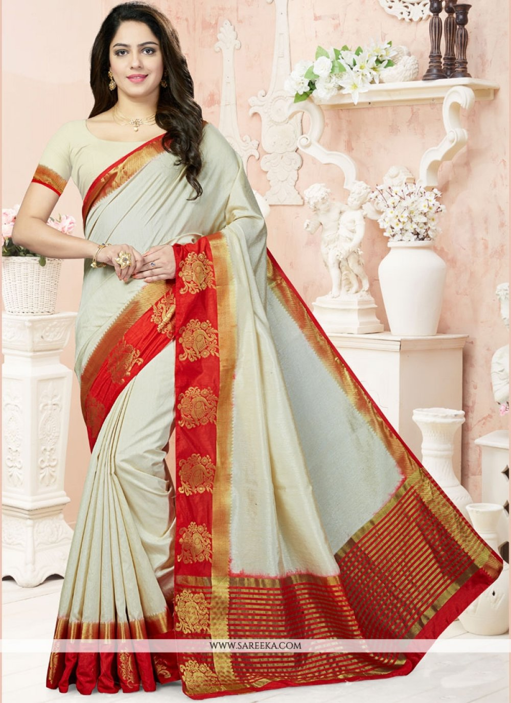 Raw Silk Weaving Work Traditional  Saree