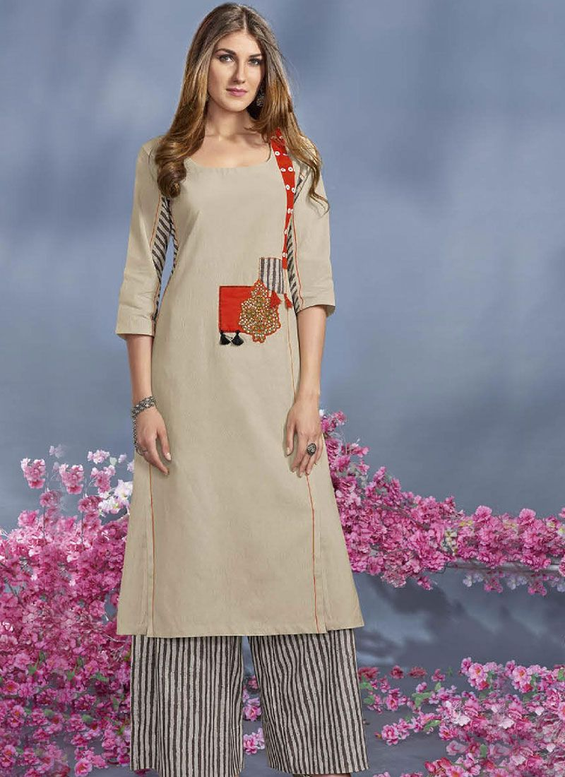 Rayon Beige Print Work Party Wear Kurti